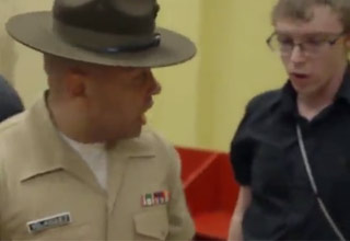drill sergeant screaming at nerdy kid
