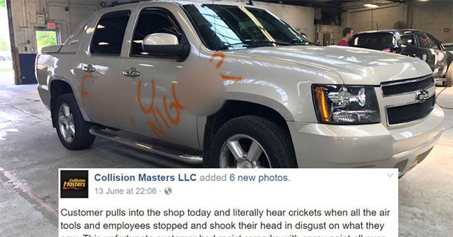 truck defaced with racial slurs shows up in the shop