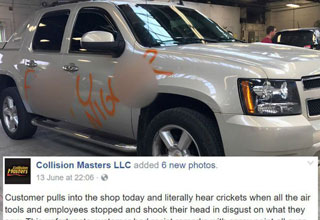 truck defaced in racial slurs leaves shop speechless