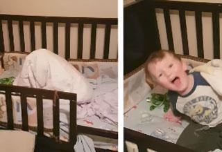 Kid playing hide and seek in his bed, under blanket, big reveal