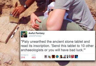 Aweful Fantasy Tweet about archeologist finding ancient text that is some form of chain letter