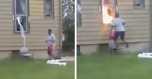 woman walking up to building with gas can in her hand, then fire coming out of home