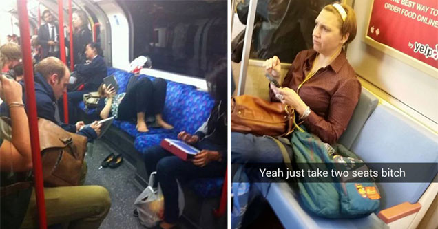 woman hogging seats on public trains and buses