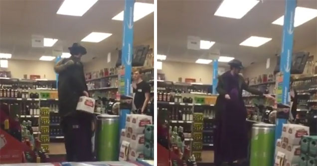 8 foot tall man buying beer
