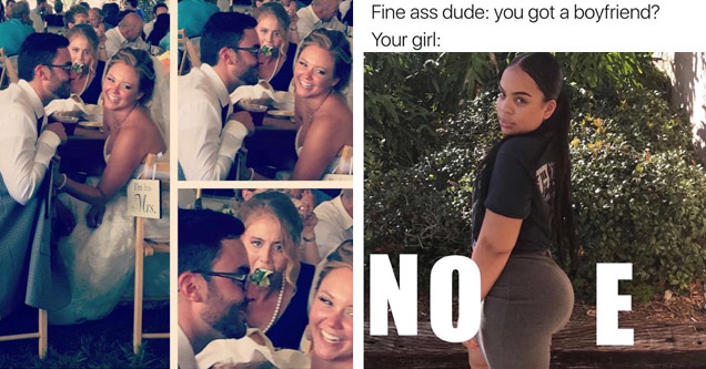 Girl stuffing her face as newly weds cozy up at their wedding table and meme of word NOPE with P written with girls butt in tight outfit.