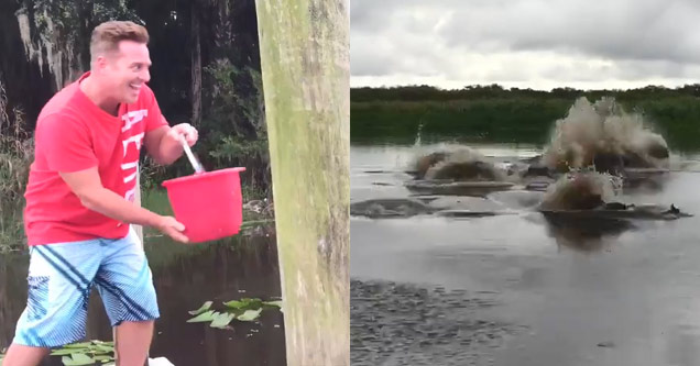 man with red bucket throwing gator chum in water