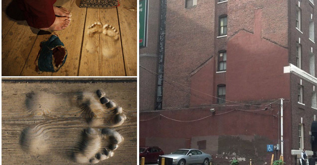 footprints in wood, a building with a houses outline