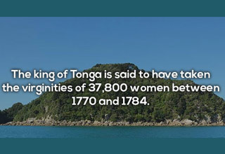 island in the ocean with text about king of tonga having sex with 37 thousand virgins