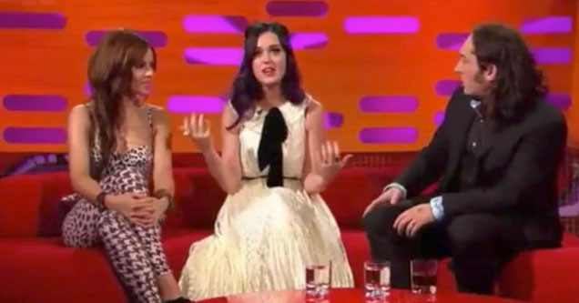 katy perry and two british comedians on a couch at the graham norton show