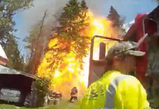propane explosion in maine that knocks firefighters on their backs