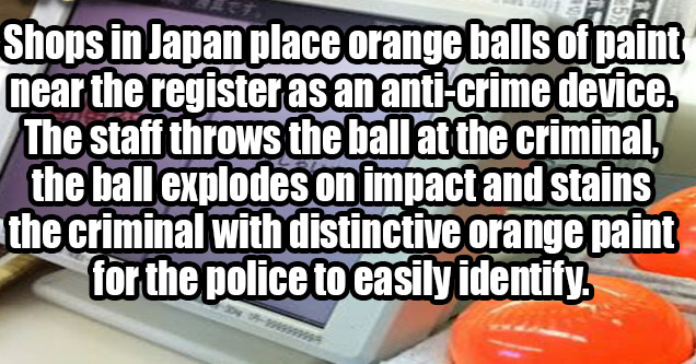 orange balls of paint are thrown at shoplifters in japan