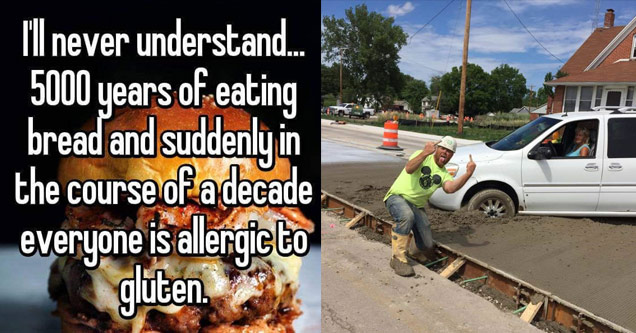 hamburger wtih text about gluten and construction worker flipping off woman who drove through cement