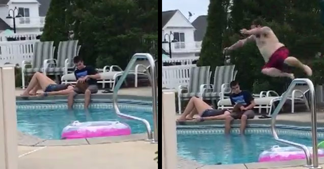 kid with girlfriend at pool and uncle jumping in