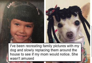 girl pranking her mom by switching her photos with photos of their dog