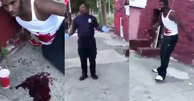 idiot pretends to be stabbed