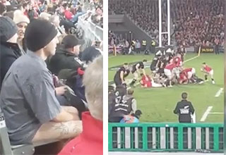 streaker waiting to take the field at a rugby match