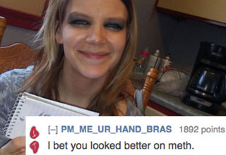 girl holding roast me sign gets called a methhead