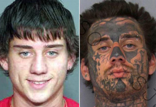 guy with 2 mugshots one no tattoos one with face full of tattoos