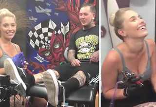 guy lets his girlfriend give him a tattoo asks her to marry him
