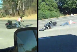 Biker Gets The Death Wobbles And Wipes Out Big Time