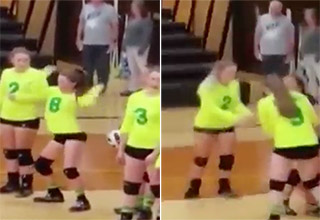 girl gets nailed with volleyball