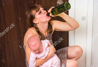 stock photos of a mom holding a baby and drinking wine, and a boy holding a gun and crying