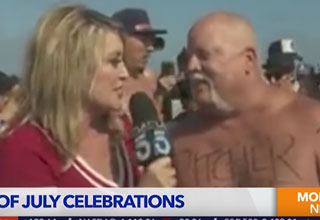 reporter gets puked on during the fourth of july