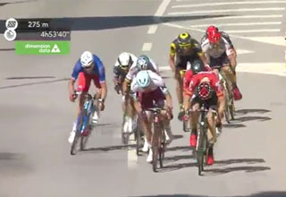 tour de france crash lead to a disqualification