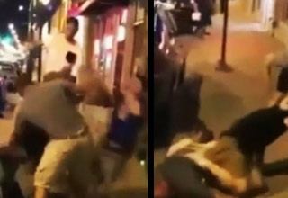 guy runs up and knocks man out with drop kick