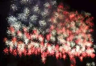 fireworks creating the american flag