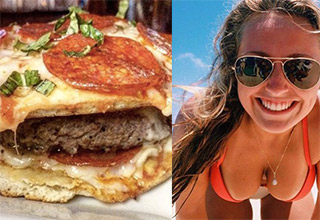 pizza burger and bikini babe leaning in