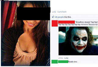 cute girl on facebook with joker pic comment