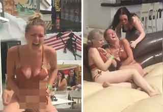 girl loses her bikini bottums on a mechanical bull