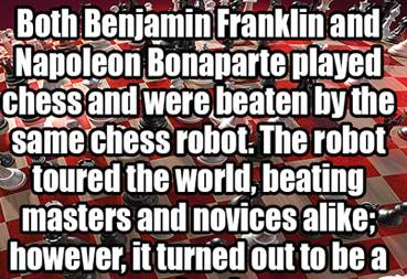 ben franklin was beaten by chess robot was really man in box