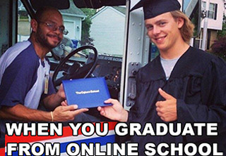 meme about graduating from online college and becoming truck driver