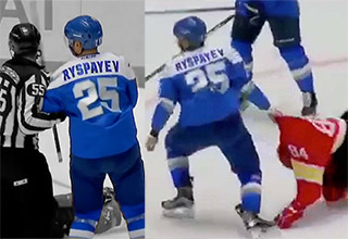 Russian hockey fucks this dude up
