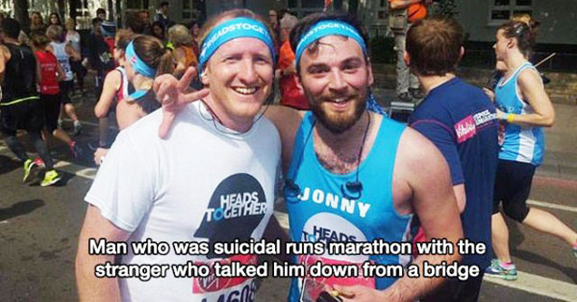 two sweaty guys after running a marathon