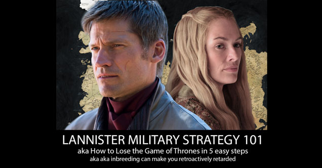 Jamie Lannister and Cersei Lannister from the game of thrones
