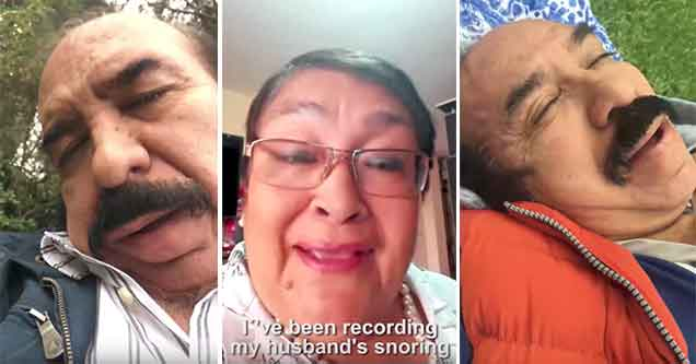 wife films her husband snoring and makes a song