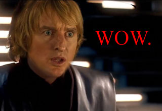 owen wilson photoshopped into star wars with the word wow
