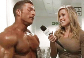 girl interviewing bodybuilder