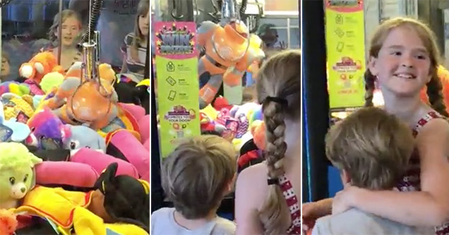 Little girl happy for winning toy