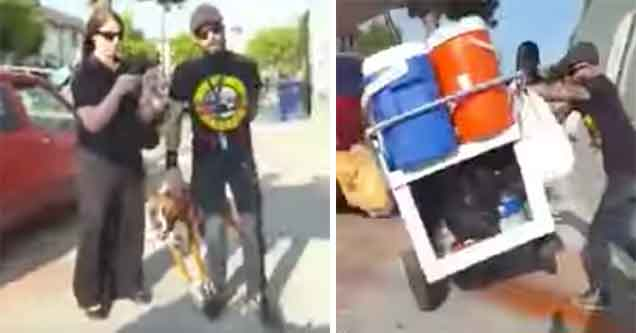 hipster douche attacks a street vendor in LA