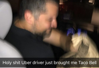 uber driver brings some taco bell