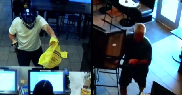 Old Man In Bad Motherf*cker Shirt Stops Armed Robber With a Chair To The Head