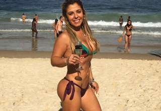 hot brazilian cop in bikini on beach