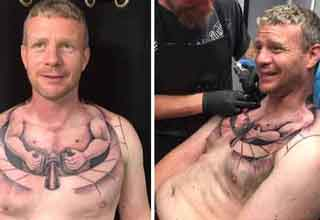 trucker gets a small trucker tattoo on his chest