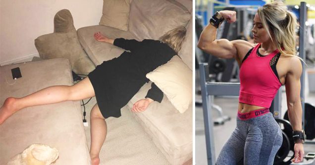 girl passed out in catch, girl flexing big muscle