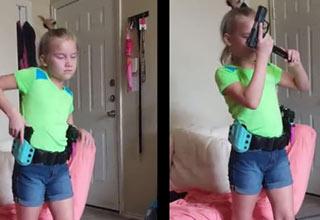 Little Girl Shows Off Her Gun Reloading Skills