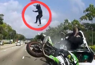 Cad dashcam captures an insane motorcycle accident ouch video